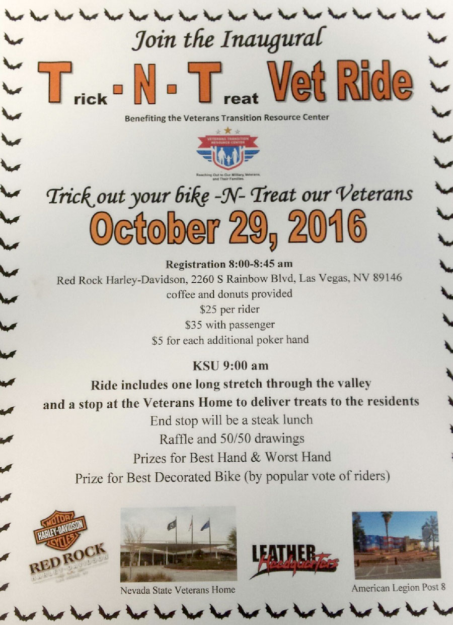 Trick N' Treat Vet Ride at Leather Headquarters